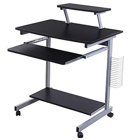 Lyndan - Takoma Table Informatique Compact Noir Bureau Meubles pour la maison et le bureau d