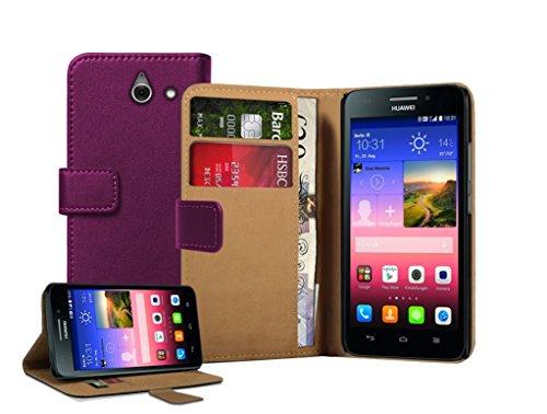 Membrane - Lila Brieftasche Klapptasche Hülle Huawei Ascend Y550 (Y550-L01, Y550-L02, Y550-L03) - Wallet Case Cover Schutzhülle + 2 Displayschutzfolie