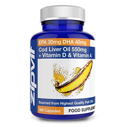 Olio Di Fegato Di Merluzzo 550 mg con Vitamina D e Vitamina A, 360 Capsules. Sostiene la Salute del Cuore, del Cervello e degli Occhi. Fornitura Per 12 Mesi.
