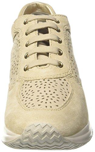 Geox D Happy A, Baskets Basses Pour Femmes Beige (beige / Lt Taupe)