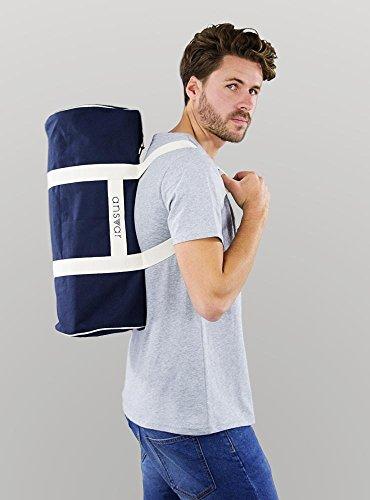 Sporttasche ansvar III aus Bio Baumwoll Canvas - Hochwertige Damen & Herren Sporttasche, Duffle Bag aus 100% nachhaltigen Materialien - mit GOTS & Fairtrade Zertifizierung, Farbe:blau - 4
