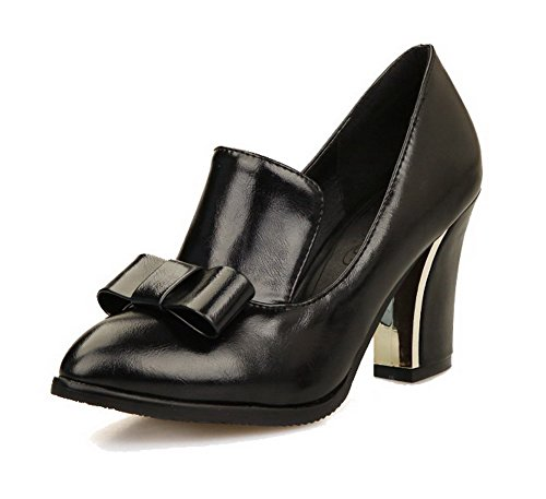 AgooLar Femme Tire Pu Cuir Pointu à Talon Haut Couleur Unie Chaussures Légeres Noir