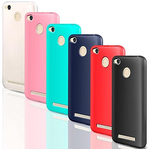 """6x Funda Xiaomi Redmi 4A, Leathlux Carcasas 6 juntas Ultra Fina Silicona TPU Gel Protector Flexible Colores Case Cover para Xiaomi Redmi 4A 5.0"""" - Blanco Rosa Verte Azul Rojo Negro"""