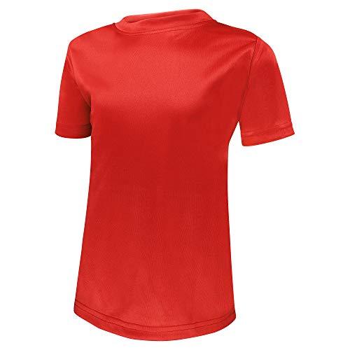 Alps to Ocean Sports Kinder Sportshirt Funktions T-Shirt Teamsport (schnelltrocknend, atmungsaktiv), Größe:140, Farbe:Red