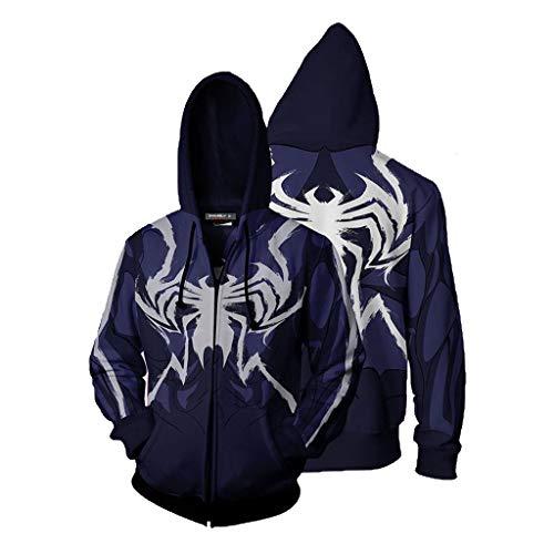 T.M.R.W. Clothing Herren Spiderman Zip Shirt Marvel Superheld Cosplay Kostüm Bedrucktes Sweatshirt A-M