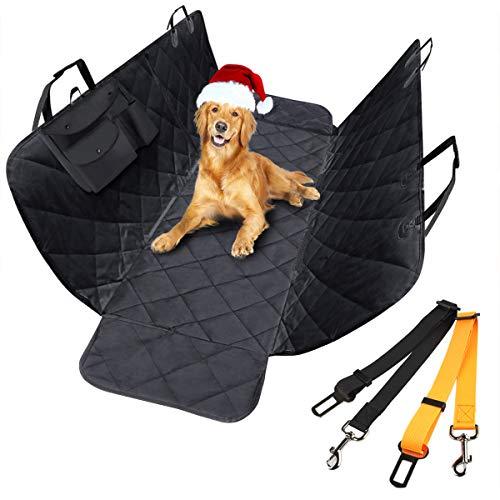 morpilot Funda Coche Perro, Cubierta Asiento Coche Perro Trasero Universal de Mascotas con 2 Cinturones de Seguridad, Impermeable para SUV, Camión, Transportar y Viaje