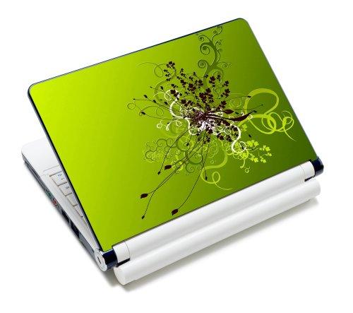 wortek Universal Laptop Aufkleber für Notebooks bis ca. 13,3 Zoll - Abstrakt Grün