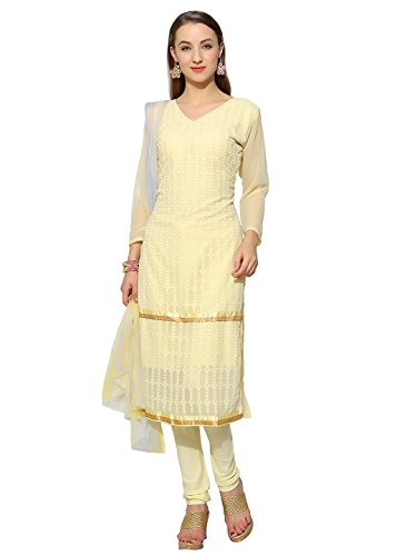 Khushali Presents Embroidered Georgette Dress Material(Yellow)