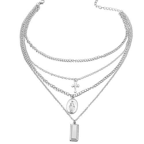 Halskette, Retro-Multi-Layer Kreuz Jesus Anhänger Choker Halskette Damen Schmuck Kette Decor Silver ()