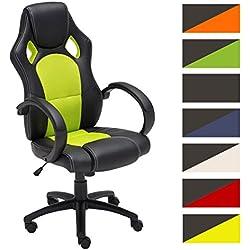 CLP Silla de oficina FIRE. Silla de escritorio con altura regulable 49 - 59 cm. Silla Gaming con diseño deportivo y asiento giratorio 360°. el tapizado de la silla Gaming Fire es de cuero verde