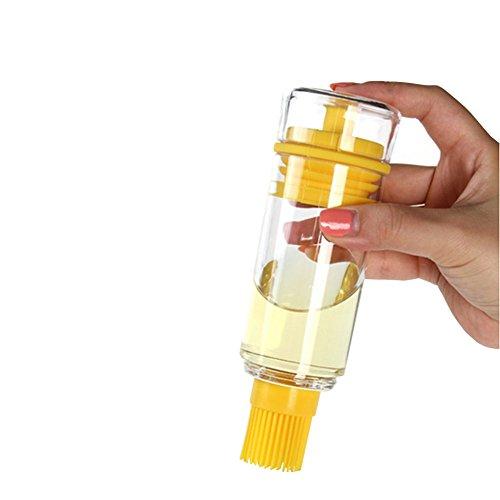 Demarkt Öl Flasche Glas Ölflasche mit Pinsel Honig Flasche mit hitzebeständige Silikon Bürste Backpinsel für BBQ Kochen Speiseöl Olivenöl Butter Sauce Essig (Bäcker Honig)