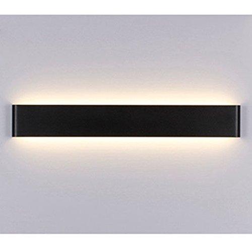 Wand Lampe, kreative moderne minimalistische Aluminium LED Nachtlicht Lampe für Flur, Treppenhaus, Wohnzimmer, Esszimmer, Schlafzimmer (Schwarz&Warmes weißes Licht)