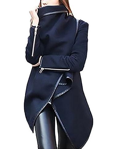 Damen Cardigan Lang Elegant Vintage Langarm Festlich Strickjacken Parka Große Größen Hoher Kragen Pullover Mantel Mit Zipper Irregular Strickmantel Cocktail Formal Kimono Outwear Trenchcoat