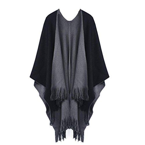 ZIYOU Strickjacken Robe Damen Winter Poncho Capes Schal Mantel, 160cm x 110cm Tücher (Grau)