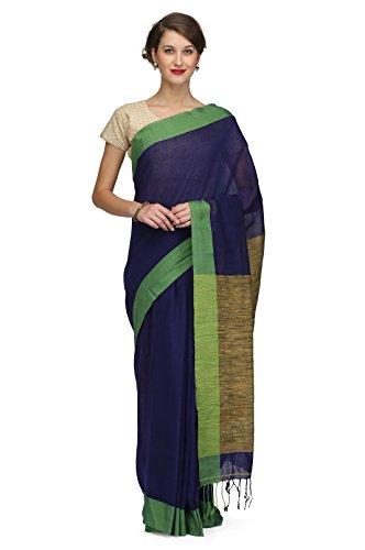The Weave Traveller Women'S Dark Green Handloom Cotton Saree With Ghicha Pallu(Blue)
