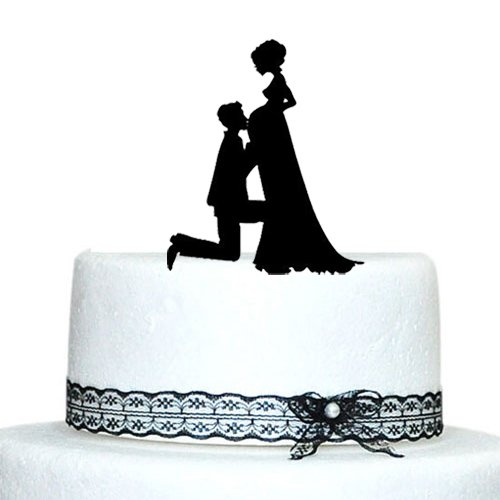 Pregnant Bride and Groom Silhouette Wedding Cake Topper: Amazon.co ...