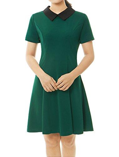 sourcingmap® Allegra K Damen Sommer Puppe Kragen kurzarm Flare oberhalb Knie Kleid Dress