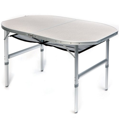 Preisvergleich Produktbild Aluminium Campingtisch 120x80cm mit Ablagenetz. Ein Mehrzwecktisch für Indoor und Outdoor, Hitzebeständig und Wasserfest mit abnehmbaren Tischbeinen. Tischhöhe ist verstellbar.