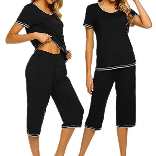 Unibelle Hausanzug Damen Sommer Pyjama Set Zweiteilig Schlafanzug mit Bow Dekoration LakeSchwarz XL -