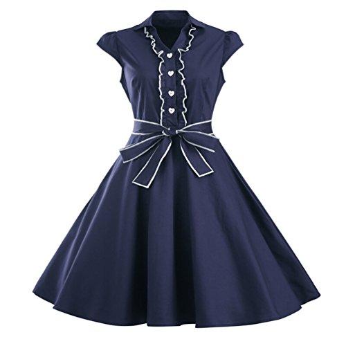 MILEEO Damen 50er Retro Herzform Knopf Rockabilly Kleid Kurzer Ärmel A-linie Kleider Navy