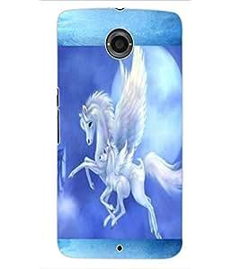 ColourCraft Flying Horse Design Back Case Cover for MOTOROLA GOOGLE NEXUS 6