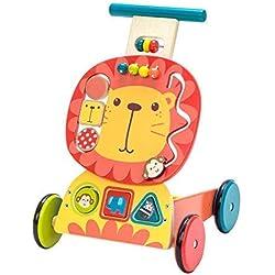 Labebe Chariot Enfant, 3-en-1 Utilisation comme Trotteur Enfant, Lion Jaune Trotteur Bois pour 1 An et Plus, trotteur bébé fille/Chariot bois/trotteur pousseur bébé/chariot marche