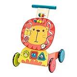labebe - Chariot Menage Enfant, Trotteur Bebe Fille/Garcon, Chariot a Roulettes, Trotteur Bois, Pousse Trotteur Bebe, Trotteur Marcheur Bebe, Chariot de Jardin, Pousseur Trotteur Bebe - Lion Jaune