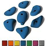 ALPIDEX 7 M/L Klettergriffe im Set verschieden ausgeformte Henkelgriffe in vielen Farben, ergonomische, kantenfreie Oberflächen, mitteltiefe Hinterschneidungen, mit Verdrehsicherung, Farbe:Balance Blue