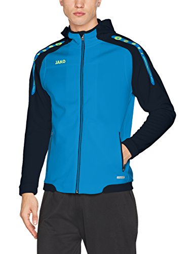 JAKO Herren Kapuzenjacke Champ, blau/Marine/Neongelb, L Performance Microfleece-pullover