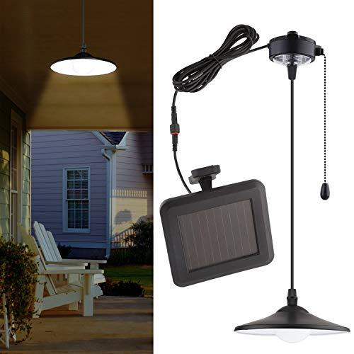 Mvpower luce solare led lampada a sospensione luce bianco con pannello solare per illuminazione indoor outdoor, con telecomando e cavo di tiro, perfetto per campeggio giardino garage studio