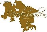 GRAZDesign 630394_57_092 Wandtattoo Wall Sticker für Wohnzimmer Büro Niedersachsen Karte Umriss Wappen (82x57cm//092 kupfer)