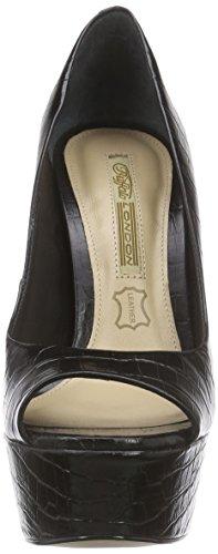 Buffalo London - Zs 4757-14 Croco Cartejado, Sandali punta aperta Donna Nero (nero (black 01))