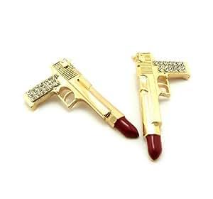 Boucles d'oreilles en forme de fusil rouge à lèvres, ton or et rouge