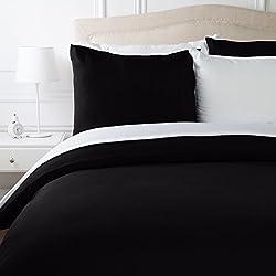 AmazonBasics Parure de lit avec housse de couette en microfibre, Noir, 240 x 220 cm