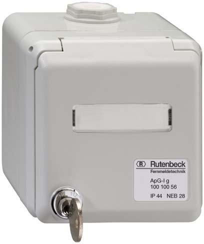 RUTENBECK 10010056 - CAJA SUPERFICIE TAPA/CERRADURA CENTRAL IP44 GRIS CLARO