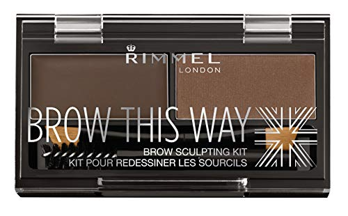 Rimmel London Brow This Way Augenbrauenpuder-Modellierset, gepflegtes Finish und ultimative Präzision mit Duo Compact Formula, Dunkelbraun, Pulver 0,04 oz, Wachs 0,03 oz