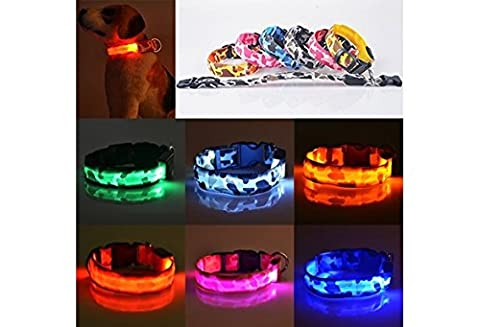 Pets Dog LED Lights Leopard Flash Night Safety Waterproof Collar Adjustable ( Battery NOT Included) (color: Pink,size: S)