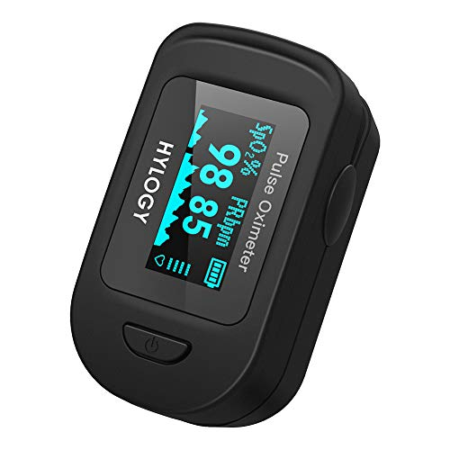 HYLOGY Pulse Oximeter MD-H32 Professional Portable Oxygen Monitor Finger Heart Rate Monitor for Pulse Rate (PR) and Oxygen Saturation (Spo2) Measurements with Omnidirectional Readings.