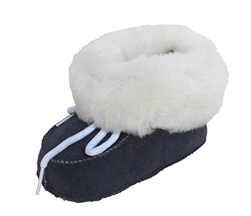warme Lammfell Babyschuhe anthrazit mit Fellkragen und Kordel, Gerbung ohne schädliche Stoffe, Gr. 16-17 Grau
