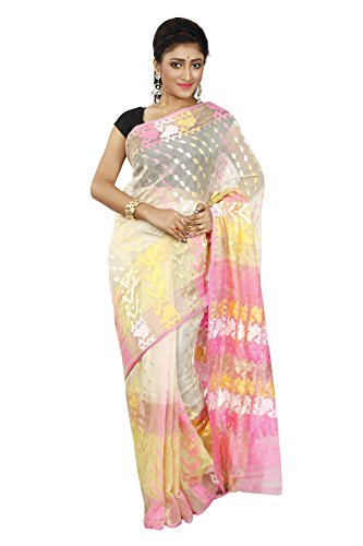 B3Fashion Women's Dhakai Jamdani Saree (Ags518_Cream, Pink & Yellow)