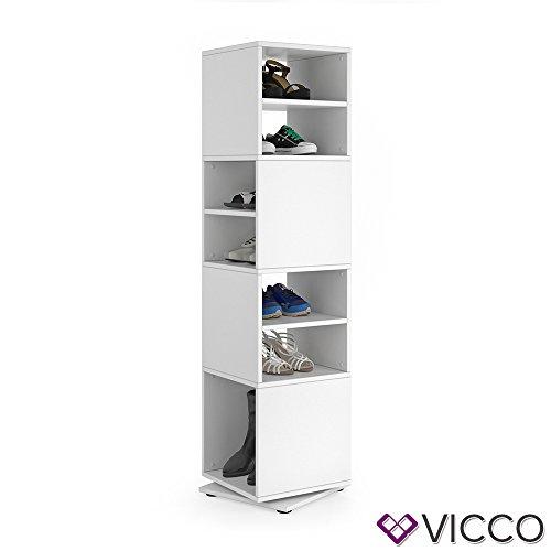 Vicco Schuhregal Drehregal Schuhschrank Schuhständer Standregal Flurgarderobe Dielenschrank (Weiß)