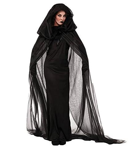 Anguang Geisterbraut Böse Königin Lange Cosplay Kleid Lange Vampir Umhang mit Kapuze Ausführen Kostüme Halloween und Abendkleid Schwarz (Kostüm Für Halloween Bilder)