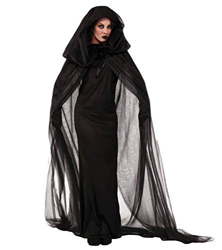 Anguang Geisterbraut Böse Königin Lange Cosplay Kleid Lange Vampir Umhang mit Kapuze Ausführen Kostüme Halloween und Abendkleid Schwarz M