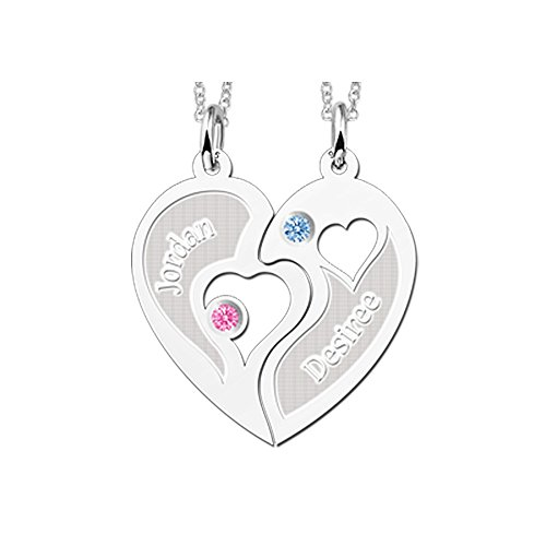 Namesforever Halbes-Herz Partnerkette   Set aus 2 Anhängern Halbes-Herz und 2 Ketten 45 cm   Gratis Gravur   925er Sterling Silber