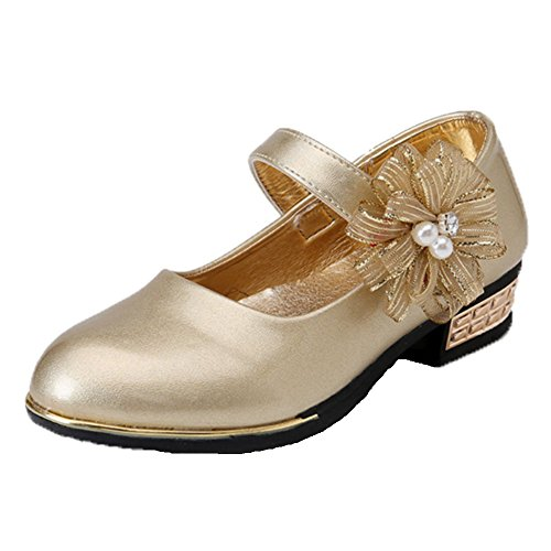 Ohmais Enfants Filles Chaussure cérémonie Ballerines à bride Fête Demoiselle d'honneur Mariage Escarpin à petit talon Doré