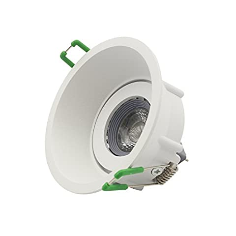 Recessed Can Light Trim Kit LED Downlight with 12V MR16 5W LED Bulb GU5.3 Socket Base,90mm Cut Out,Bulb Replaceable,Cold White,Angle (Mr16 Trim)