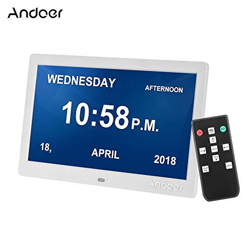Andoer 10 Zoll IPS Digitaler Bilderrahmen 1024 * 600 Auflösung 2,4 G Ultraempfindlicher Fernbedienung Foto/Musik/Video Player/E-Book/Kalender/Alarm/Digitaluhr(Weiß)