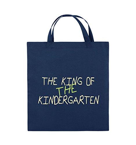 Comedy Bags - The king of the Kindergarten - Jutebeutel - kurze Henkel - 38x42cm - Farbe: Schwarz / Hellbraun-Beige Navy / Beige-Hellgrün