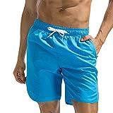 TEBAISE Herren Männer Badehose Medium Drawstring Badeshorts Viele Farben und Große Größen(Himmel Blau,XL)