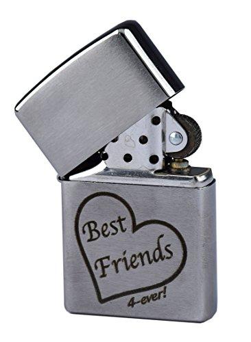 """Zippo mit Gravur """"Best Friends 4-ever"""" mit Herz - Beste Freunde für immer - auf Chrome brushed Benzinfeuerzeug als Geschenk"""